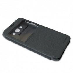 Futrola za Samsung Galaxy E7 preklop bez magneta sa prozorom Nillkin sparkle - siva