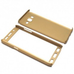 Futrola za Samsung Galaxy J5 preklop bez magneta sa prozorom PVC Full protect - zlatna
