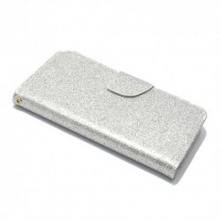 Futrola za iPhone X/XS preklop sa magnetom bez prozora Glitter - srebrna