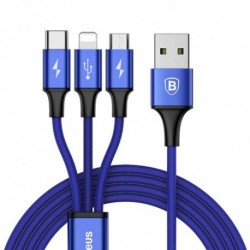 USB data kabal za Android micro/type C/iPhone Baseus Rapid (1,2m) - teget