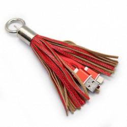 USB data kabal za iPhone sa priveskom - crvena