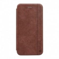 Futrola za iPhone X/XS preklop bez magneta bez prozora Teracell Leather - tamno braon