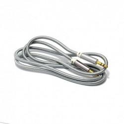 Audio (Aux) kabal (3,5mm) 1m Woven - srebrna