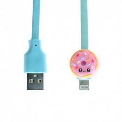 USB data kabal za iPhone lightning Emoji krofna (1m) - tirkizna