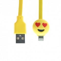 USB data kabal za iPhone lightning Emoji ljubav (1m) - Žuta