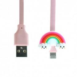 USB data kabal za iPhone lightning Emoji duga (1m) - roza