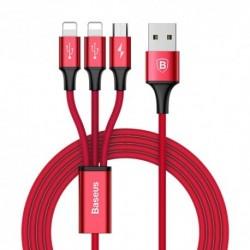 USB data kabal za Android micro/2x iPhone lightning (3u1) Baseus rapid (1,2m) - crvena