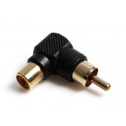 Adapter sa RCA muški na RCA ženski ugao 90 stepeni - crna